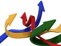 image 3d des flèches et de la stat financière Images libres de droits