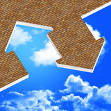 Image 3d of house icon. Background and blue sky Royalty Free Stock Photo