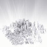 Image of 3d render of city scape. And light background Stock Photo