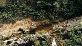 Image aérienne cinématographique de bourdon de cascade et d'une petite piscine profondément dans la jungle de forêt tropicale au  images libres de droits
