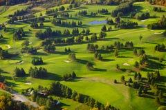 Image aérienne d'un terrain de golf. Images libres de droits