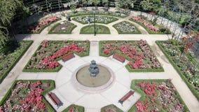 Image aérienne d'une roseraie à un parc images stock