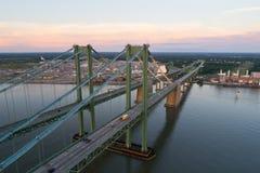 Image aérienne de bourdon du pont en mémorial de Delaware Photographie stock libre de droits