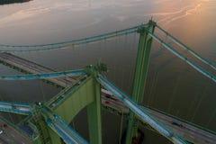 Image aérienne de bourdon du pont en mémorial de Delaware Image libre de droits