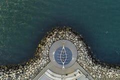 Image aérienne de sculpture en solfarid à Reykjavik photo stock