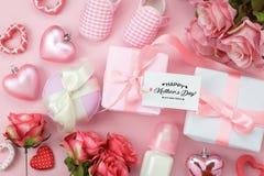Image aérienne de vue supérieure de fond heureux de vacances de jour de mères de décoration Photo libre de droits
