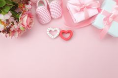 Image aérienne de vue supérieure de fond heureux de vacances de jour de mères de décorations Photos libres de droits
