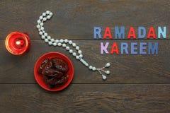 Image aérienne de vue supérieure de Tableau des vacances de Ramadan Kareem de décoration Image libre de droits