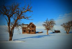 Nelson House, Winter of 2017. This is a image of the abandon Nelson House in the winter of 2017 in North eastern Oregon Royalty Free Stock Photography