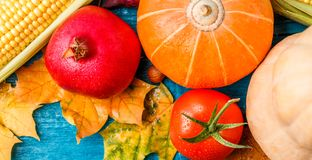 Image from above of autumn leaves, pumpkin, tomato, pomegranate, corn Stock Photos