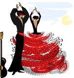 Image of abstract flamenco couple. Abstract sky and couple of Spanish dancers Stock Photos
