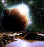 Image abstraite d'une planète avec de l'eau. Image libre de droits