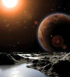 Image abstraite d'une planète avec de l'eau. Photographie stock libre de droits