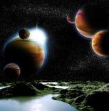 Image abstraite d'une planète avec de l'eau. Photos stock