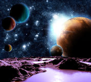 Image abstraite d'une planète avec de l'eau. Illustration Libre de Droits