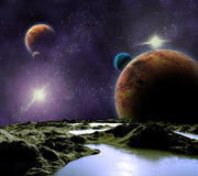 Image abstraite d'une planète avec de l'eau. Image stock