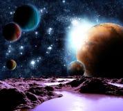 Image abstraite d'une planète avec de l'eau. Photos libres de droits