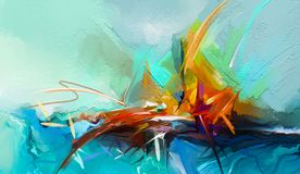 Image abstraite Semi- de fond de peintures de paysage marin illustration stock