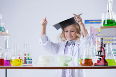 Image of adorable little experimenter, close-up Stock Image
