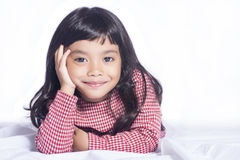 Image of adorable little girl on white background Royalty Free Stock Images