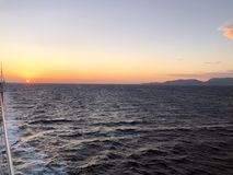 Image of the Adriatic Sea horizon line and blue sky at sunset time. royalty free stock photo