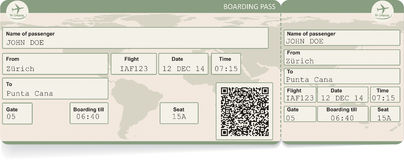 Image of airline boarding pass ticket Stock Photography