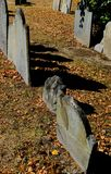Image of American War of Independence graves seen in a famous Boston cemetery. Very old, mainly slate, gravestones for soldiers and casualties for the American Royalty Free Stock Photos
