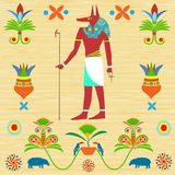 Image of the ancient Egyptian god Anubis in color paints with pa Stock Image