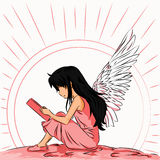 Image of an angel child reads a book at dawn. Image angel child to read a book in the shade of pink Stock Photo