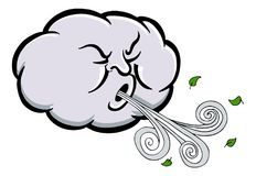 Angry Cloud Blowing Wind Cartoon Stock Photos