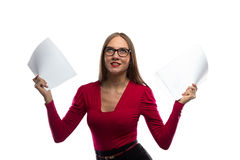 Image of angry woman with paper sheets Stock Photo