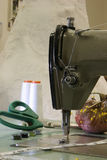 An image of a Antique sewing machine with wedding Stock Photo