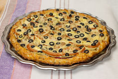 Image of appetizing homemade pizza with vegetables Royalty Free Stock Image