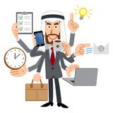 The image of an Arab people capable talent. The image of an Arabic businessman wearing a suit, and he is capable in many ways vector illustration