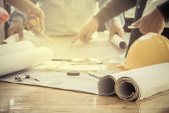 Image of the architectural project engineer Royalty Free Stock Images