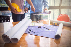 Image of the architectural project engineer. Vintage tone and engineering tools in the workplace Royalty Free Stock Image