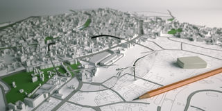 Image of Architecture planning on paper. 3D image of Architecture planning on paper Royalty Free Stock Photo