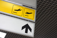 Image of arrival and departure signs at the airport Stock Photography