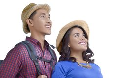 Image of asian couple traveler with backpack Stock Photos