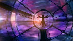 The Vitruvian astronaut are eager for adventure. The image of an astronaut controlling processes in a spaceship royalty free stock photography