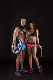 Image of athletes with equipment for bodybuilding Stock Photos