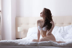 Image of attractive woman posing just waking up Royalty Free Stock Images