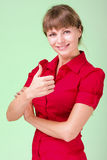 Image of attractive woman showing thumbsup Stock Images