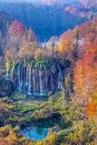Waterfalls in Plitvice Lakes. Image of autumn landscape in Plitvice National Park with beautiful waterfalls during sunrise in fall royalty free stock images