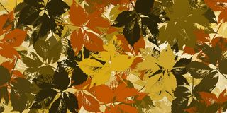 Ocher background with silhouettes in autumn leaves. Image with autumn leaves grouped on ocher tones Stock Photos