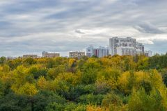 Image of autumn park and Moscow dormitory area. View of autumn park and Moscow dormitory area Stock Image