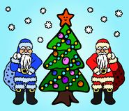 Image avec la bande dessinée le père noël et le gel de père illustration libre de droits