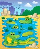 Image avec le thème 2 de crocodile Photo stock