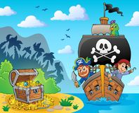 Image avec le thème 6 de navire de pirate illustration stock
