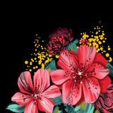 Image avec les fleurs roses dans la technique d'aquarelle Image libre de droits